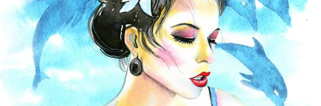 watercolor illustration of a woman with dark hair wearing a blue dress with dolphins in the background