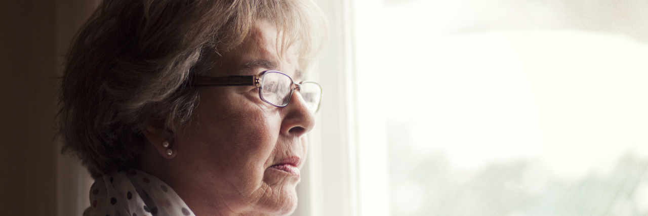 grandma looking out the window