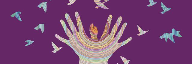 colorful illustration of hands releasing birds against a purple background