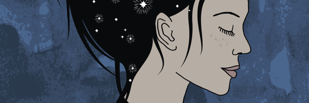 illustration of woman against a blue background with stars and the moon in her dark hair