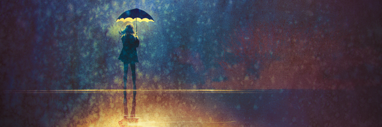 painting of a woman standing under an umbrella outside int he rain