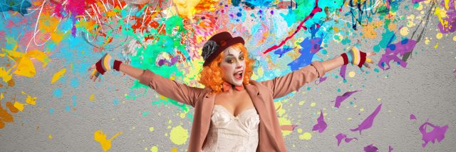 colorful photo of woman in clown makeup and paint splatters