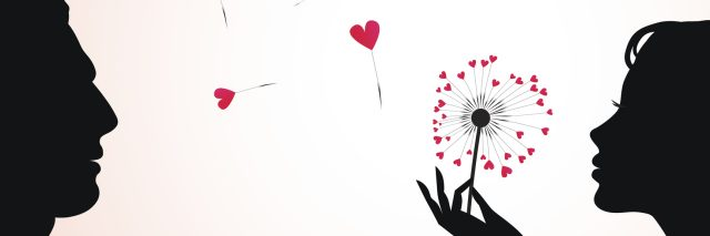 A silhouette of a woman blowing on a dandelion heart, with a silhouette of a man looking at her.