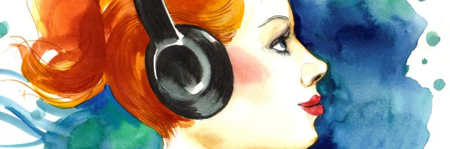watercolor painting of a woman with red hair wearing headphones