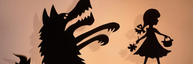 Little Red Riding Hood and the Big Bad Wolf shadow puppets.