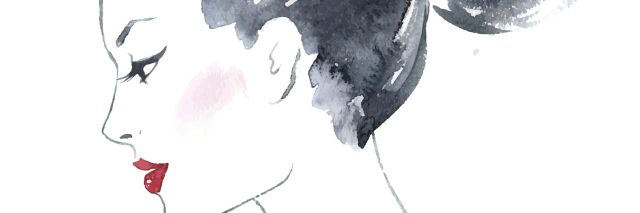 watercolor painting of a woman with dark hair in a bun