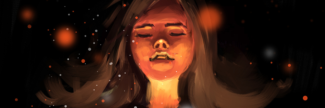 digital painting of girl in love with glowing heart, acrylic sketched on canvas texture