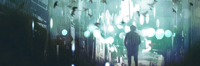man walking in abandoned city alley with flock of birds,illustration painting