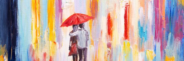 couple is walking in the rain under an umbrella, abstract