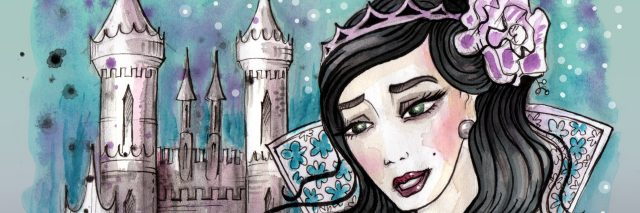 Watercolor illustration of imaginary princess with dark hair and her castle behind. Hand drawn illustration digitally colored