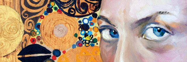 A painting of a woman's eyes close-up with a colorful abstract background.