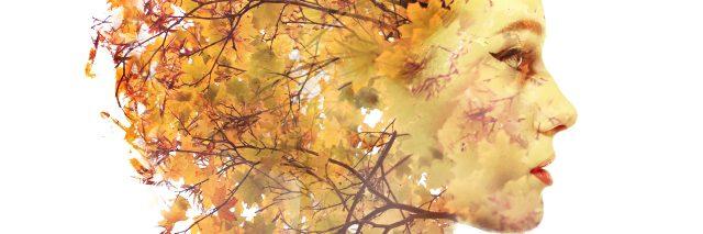 Double exposure autumn portrait of a woman.