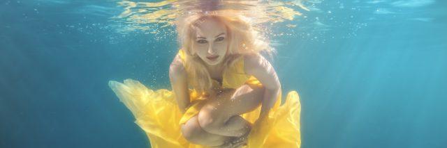 Woman underwater.