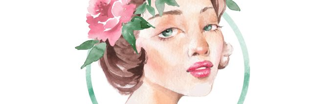 illustration of a woman with pink flowers in her hair