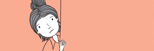 illustration of a woman peeking behind a wall. Her dress is the same color as the wall paper, so she blends in