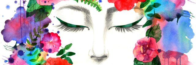illustration of woman's face with closed eyes surrounding by a ring of colorful flowers
