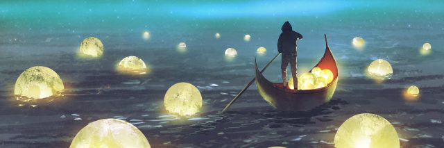 night scenery of a man rowing a boat among many glowing moons floating on the sea, digital art style, illustration painting