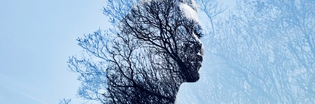 double exposure of woman in profile and trees