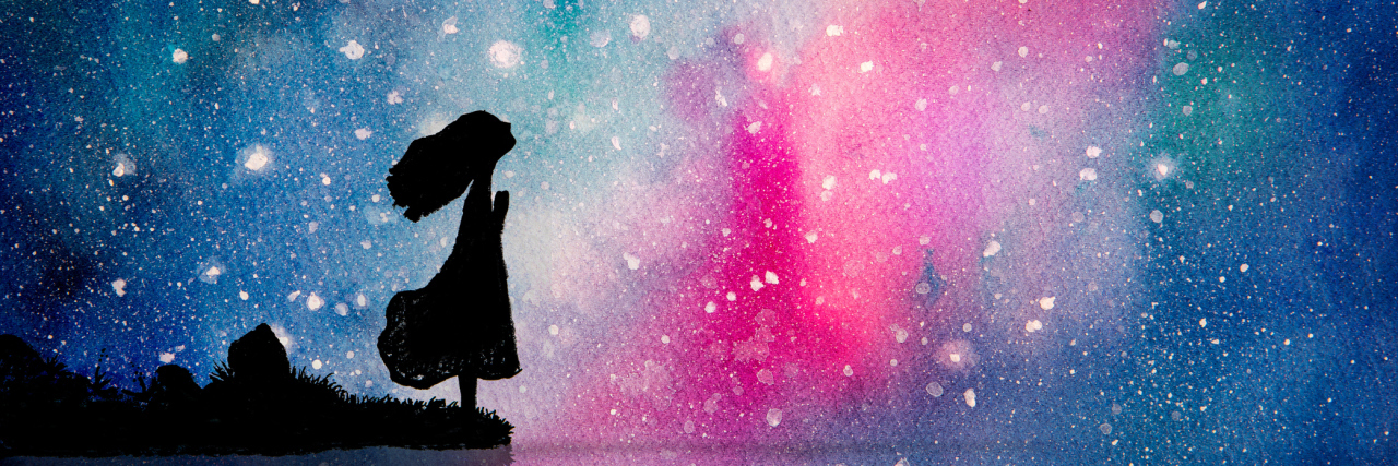 A watercolor image of a silhouette girl looking up at the stars.