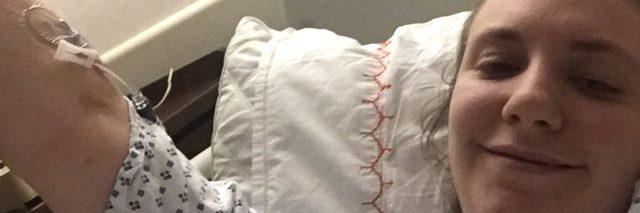 Photo of Lena Dunham in the hospital.