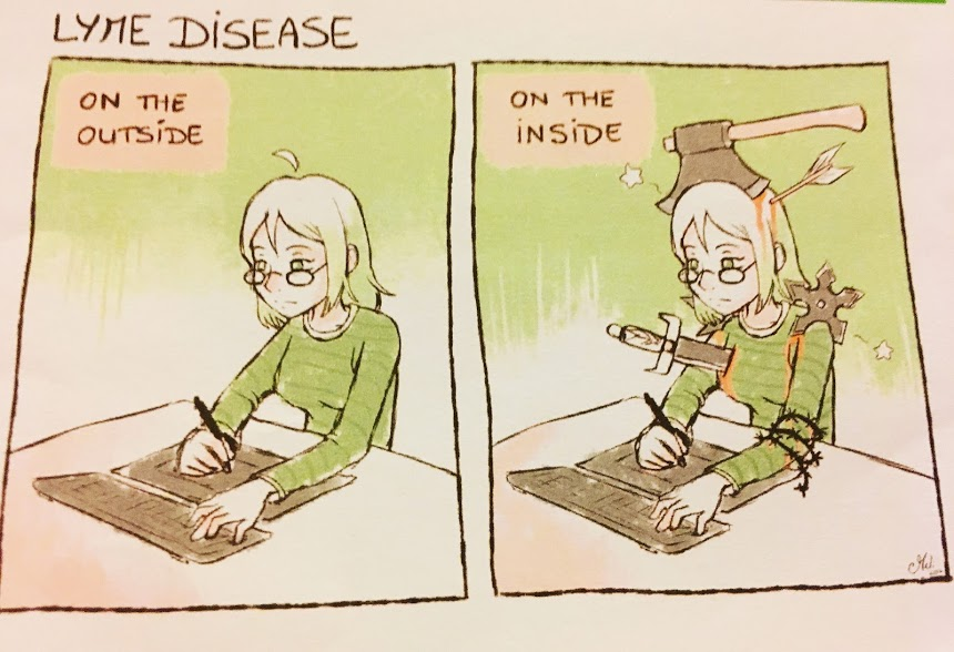 lyme disease cartoon comparing what it's like on the outside and on the inside
