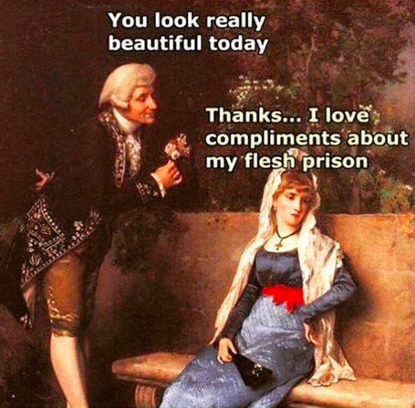 classic painting of man offering flower to woman and saying you look really beautiful today. woman says thanks, i love compliments about my flesh prison