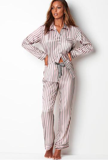 pink and gray striped pajamas long sleeve and pants