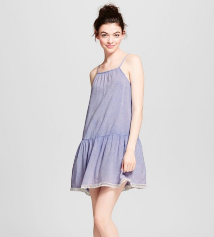 blue nightgown with flared drop waist