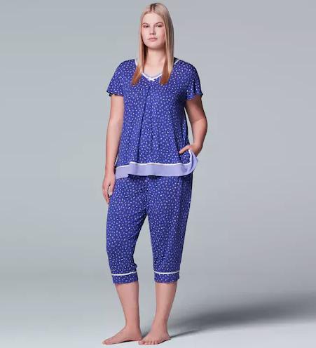 blue short sleeved pajama top and matching capri length pants