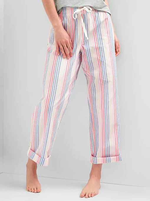 pink pajama pants with pink and blue stripes