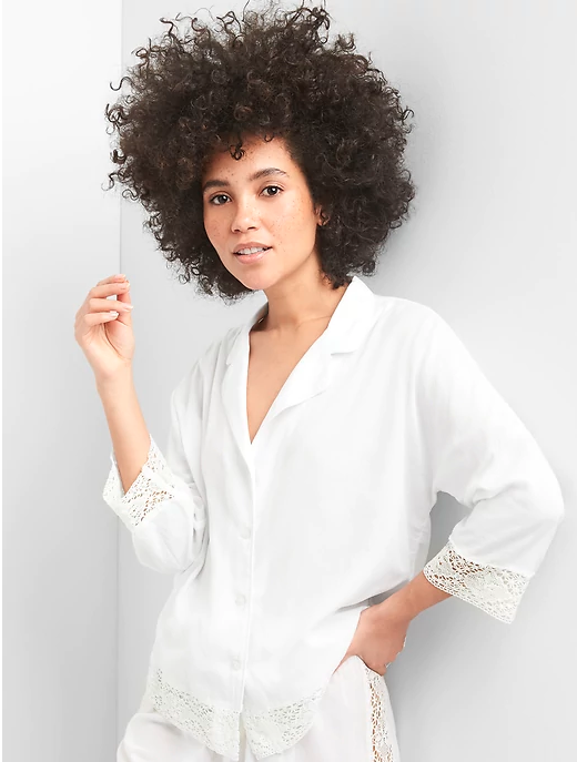 white button down pajama top with lace cuffs