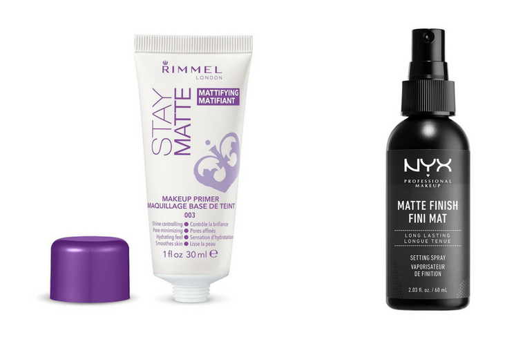 rimmel stay matte makeup primer and NYX matte setting spray