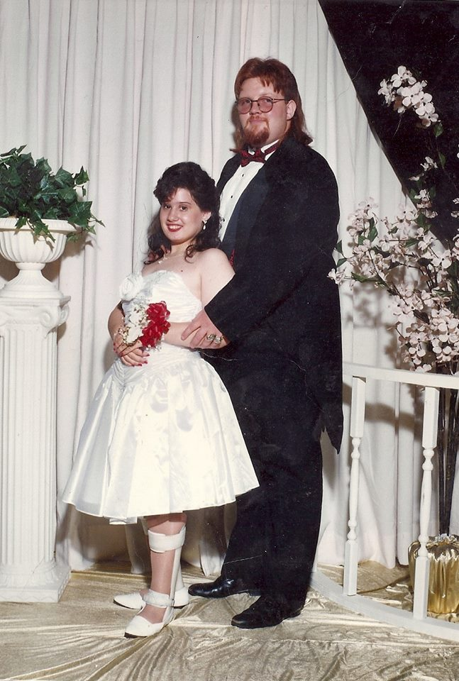 Angela with her late husband at their wedding.