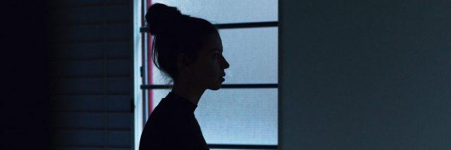 woman night silhouette