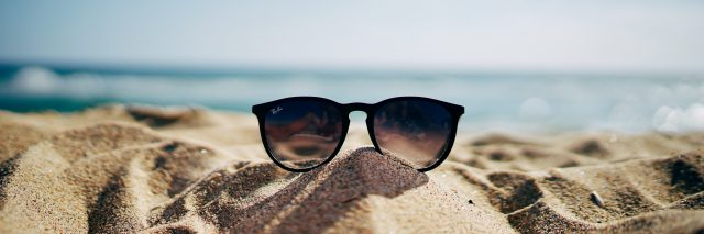sunglasses on a beach