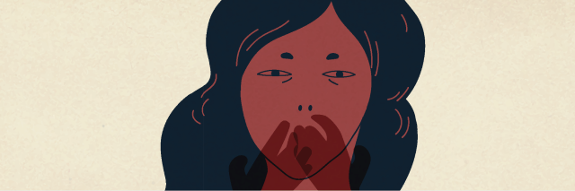 illustration of a woman with her hand over her mouth
