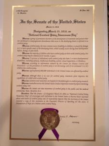 Proclamation of CP Awareness Day.