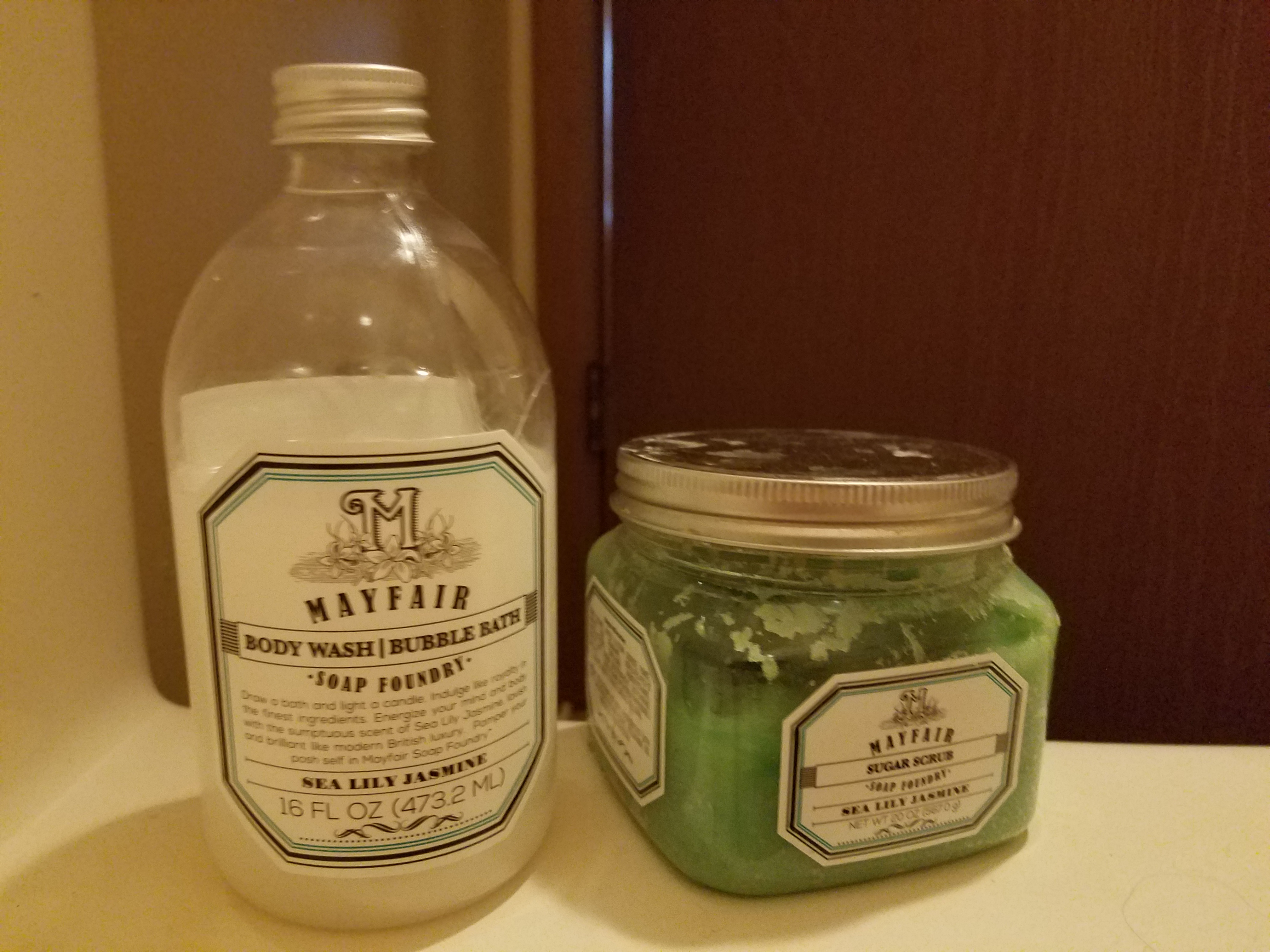 A photo of bath soaps and supplies.