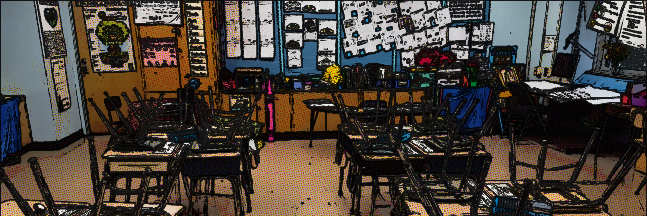 Cartoon-like image of a classroom. The chairs on the desks. No students are in the room.