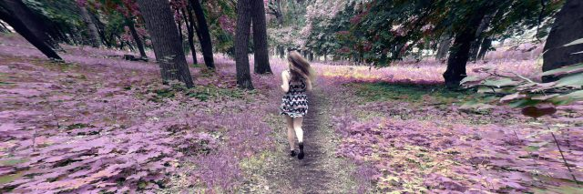 Blurred motion abstract image of a young woman traveling away from the camera. The girl travels down a path that has purple leaves growing on either side of it. She moves toward a forest with green trees. The trunks of the trees are curved unnaturally and appear warped.