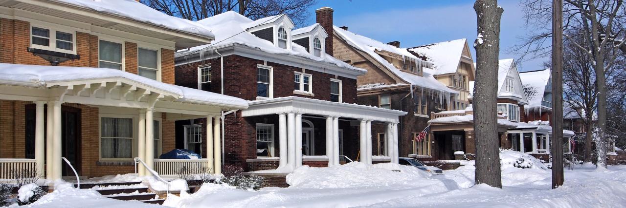Residential street in winter.