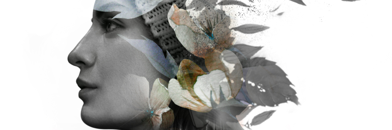 double exposure of woman wearing a beanie and plumeria flowers