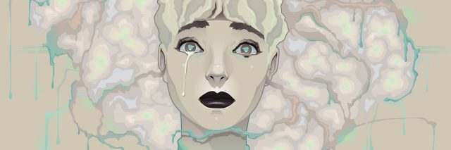 illustration of a woman with blonde hair wearing a green shirt and crying, with a single tear running down her cheek