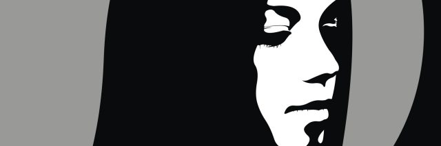 high contrast illustration of a woman looking down