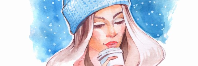 Portrait of young pretty girl dressed in warm hat