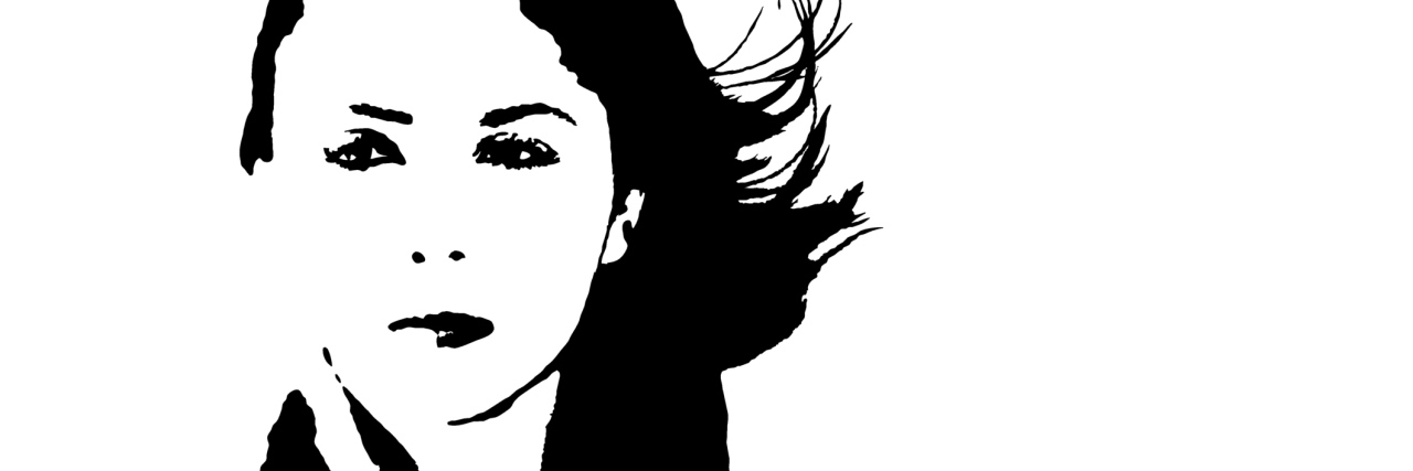 Young Woman With Windswept Hair - Vector