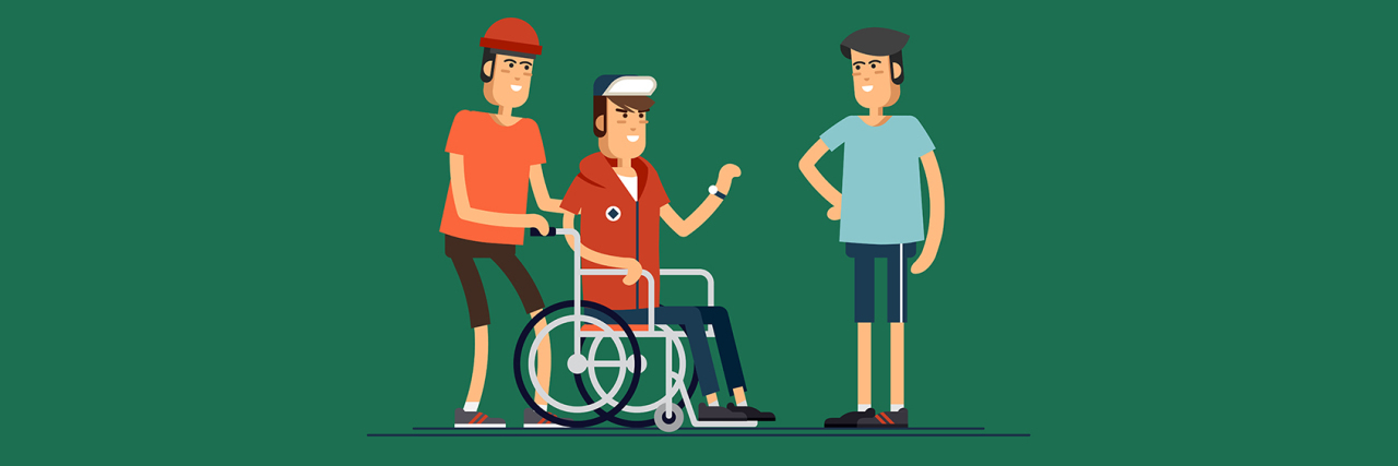 Young people, one using a wheelchair.