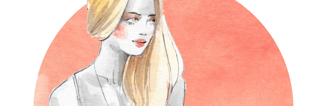 Watercolor fashion sketch. Young girl