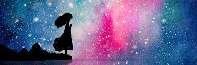 illustration of the silhouette of a girl standing at the edge of a lake and looking up at a pink and blue starry sky