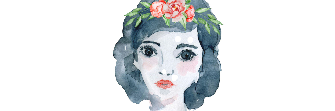 A watercolor image of a woman with dark hair and a red dress and headband on.